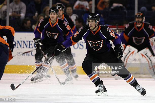 Darroll Powe of the Philadelphia Phantoms skates during the second period against the Bridgeport Sound Tigers on January 23, 2008 at the Arena at...