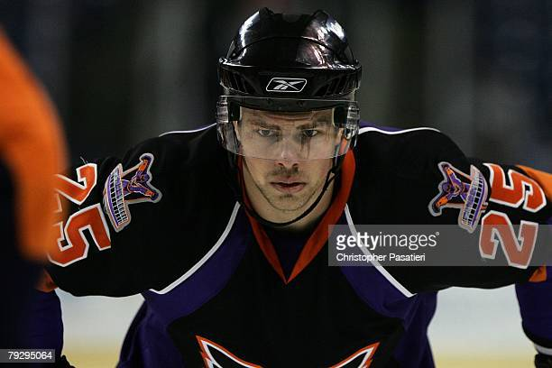 Darroll Powe of the Philadelphia Phantoms waits for a face off during the second period against the Bridgeport Sound Tigers on January 23, 2008 at...