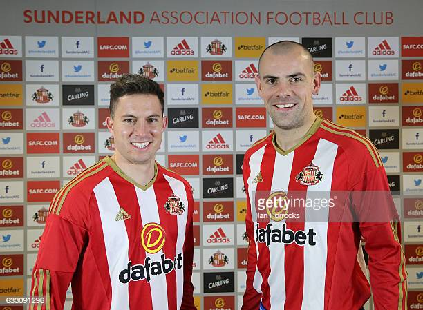 Darron Gibson and Bryan Oviedo pictured after the pair arrived in a double signing at The Academy of Light on January 30, 2017 in Sunderland, England.
