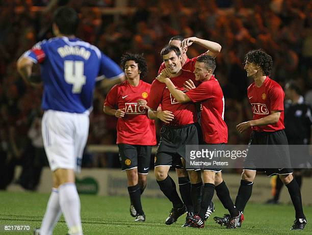 Darron Gibson of Manchester United celebrates scoring their second goal during the pre-season friendly match between Peterborough United and...