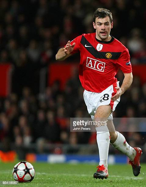 Darron Gibson of Manchester United in action during the UEFA Champions League group B match between Manchester United and Besiktas at Old Trafford on...