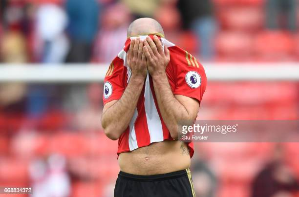 Darron Gibson of Sunderland reacts during the Premier League match between Sunderland and West Ham United at Stadium of Light on April 15 2017 in...