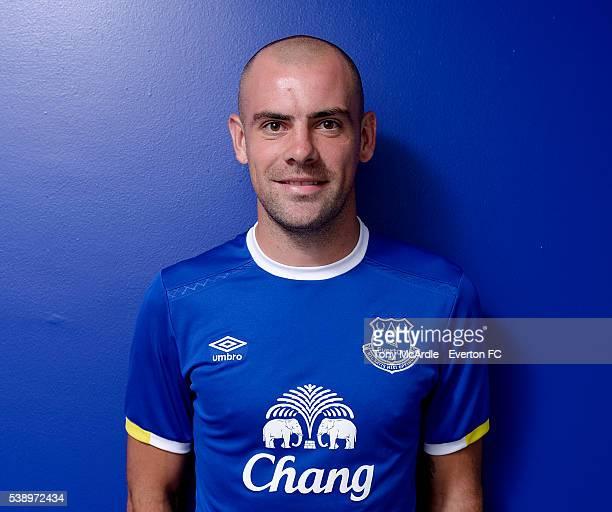 Darron Gibson poses for photographs after signing an extension to his contract at Everton at Finch Farm on June 9 2016 in Halewood England