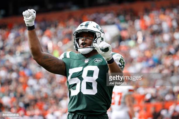 Darron Lee of the New York Jets celebrates a play in the second half against the Cleveland Browns at FirstEnergy Stadium on October 8 2017 in...