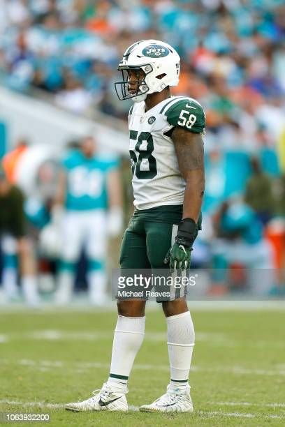 Darron Lee of the New York Jets in action against the Miami Dolphins at Hard Rock Stadium on November 4 2018 in Miami Florida