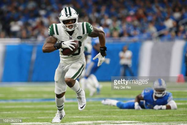 Darron Lee of the New York Jets runs the ball in the third quarter against the Detroit Lions at Ford Field on September 10 2018 in Detroit Michigan