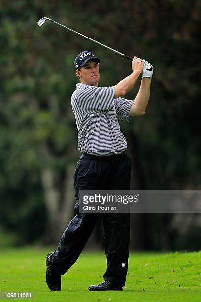 Darron Stiles hits his approach to the second green during the final round of the weather shortened Pacific Rubiales Bogota Open Presented by Samsung...