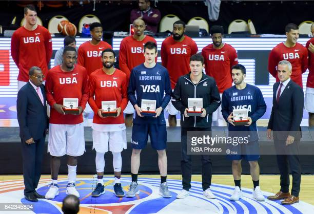 Darrun Hilliard II and Jameel Warney of United States Nicolas Brussino of Argentina Francisco Cruz of Mexico and Facundo Campazzo of Argentina pose...