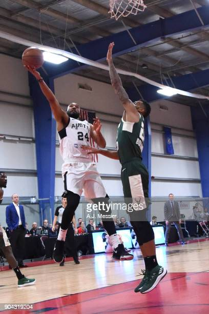 Darrun Hilliard of the Austin Spurs drives to the basket against the Wisconsin Herd during the GLeauge Showcase on January 12 2018 at the Hershey...