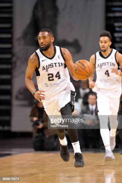 Darrun Hilliard of the Austin Spurs handles the ball during the game against the Santa Cruz Warriors on December 10 2017 at the HEB Center in Cedar...