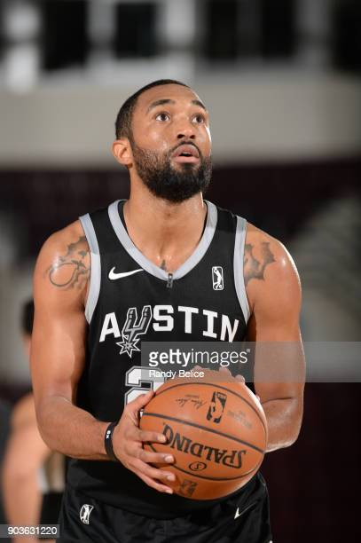 Darrun Hilliard of the Austin Spurs shoots a free throw against the Windy City Bulls during the NBA G League Showcase Game 3 on January 10 2018 at...