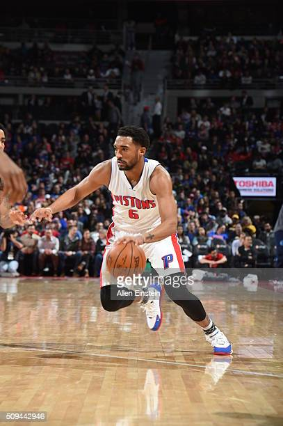 Darrun Hilliard of the Detroit Pistons drives to the basket against the Denver Nuggets during the game on February 10 2016 at The Palace of Auburn...