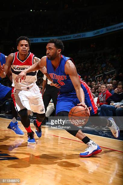 Darrun Hilliard of the Detroit Pistons drives to the basket against the Washington Wizards on February 19 2016 at Verizon Center in Washington DC...