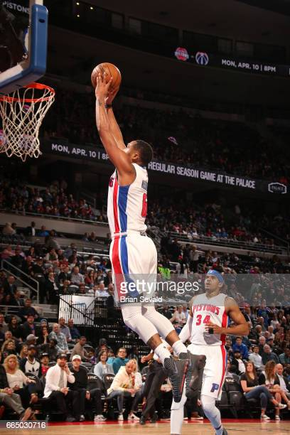 Darrun Hilliard of the Detroit Pistons dunks against the Toronto Raptors on April 5 2017 at The Palace of Auburn Hills in Auburn Hills Michigan NOTE...