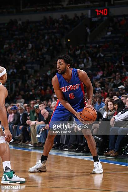 Darrun Hilliard of the Detroit Pistons handles the ball against the Milwaukee Bucks on November 23 2015 at the BMO Harris Bradley Center in Milwaukee...
