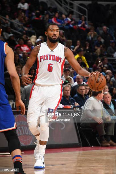 Darrun Hilliard of the Detroit Pistons handles the ball during a game against the New York Knicks on March 11 2017 at The Palace of Auburn Hills in...