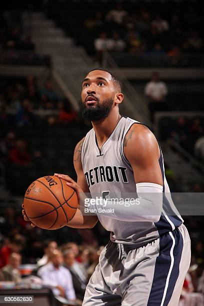 Darrun Hilliard of the Detroit Pistons shoots a free throw during a game against the Cleveland Cavaliers on December 26 2016 at The Palace of Auburn...
