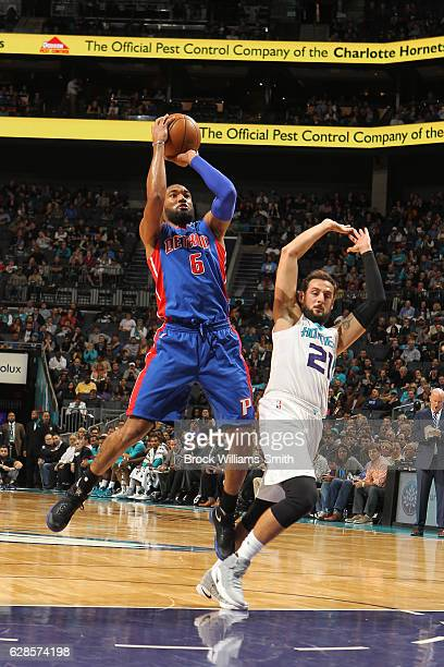 Darrun Hilliard of the Detroit Pistons shoots the ball against the Charlotte Hornets on December 7 2016 at Spectrum Center in Charlotte North...