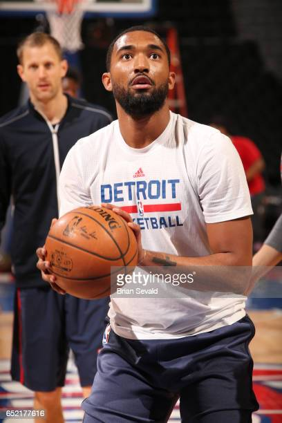 Darrun Hilliard of the Detroit Pistons warms up before a game against the New York Knicks on March 11 2017 at The Palace of Auburn Hills in Auburn...
