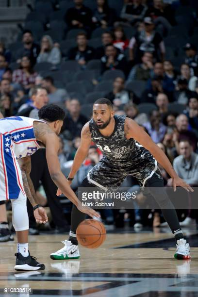 Darrun Hilliard of the San Antonio Spurs plays defense against the Philadelphia 76ers on January 26 2018 at the ATT Center in San Antonio Texas NOTE...