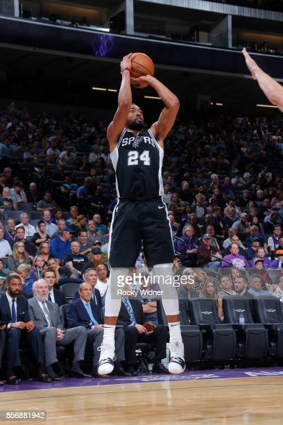 Darrun Hilliard of the San Antonio Spurs shoots the ball against the Sacramento Kings during the preseason game on October 2 2017 at Golden 1 Center...