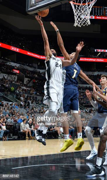Darrun Hilliard of the San Antonio Spurs shoots the ball against the Denver Nuggets during the preseason game on October 8 2017 at the ATT Center in...