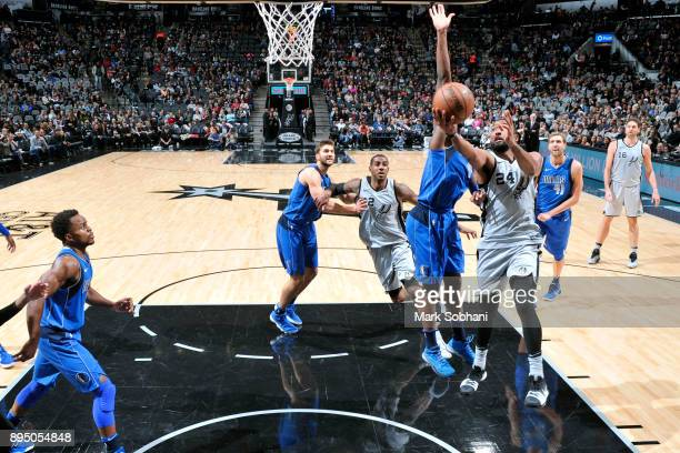 Darrun Hilliard of the San Antonio Spurs shoots the ball during the game against the Dallas Mavericks on December 16 2017 at the ATT Center in San...