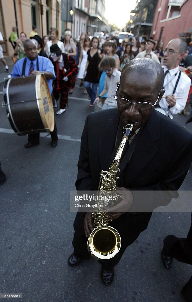 Darryl Adams performs with the Preservation Hall Jazz Band as they second line through the French Quarter during the grand re-opening of Preservation Hall on April 27, 2006 in New Orleans, Louisiana.