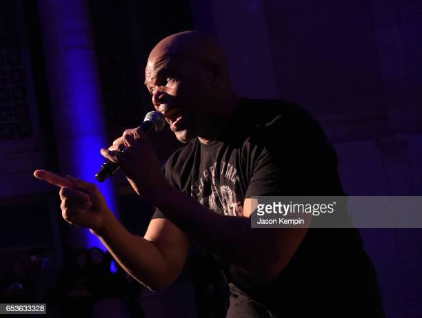 Darryl 'DMC' Matthews McDaniels performs on stage during the celebration of Urban Arts Partnership 25th Anniversary Benefit at Cipriani Wall Street...