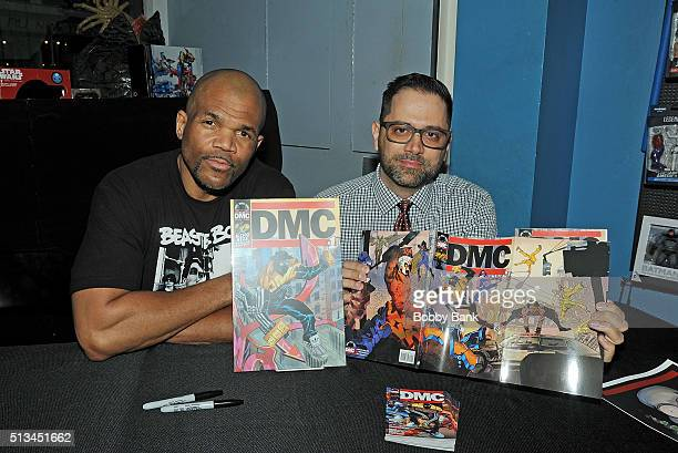 Darryl DMC McDaniels and Edgardo Miranda Rodriguez signs copies Of DMC Guardians Of Infinity at Forbidden Planet on March 2 2016 in New York City