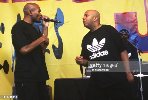 "Darryl ""D.M.C."" McDaniels and Joseph ""Run"" Simmons of Run-DMC perform during KMEL Summer Jam at Shoreline Amphitheatre on August 3, 1996 in Mountain..."