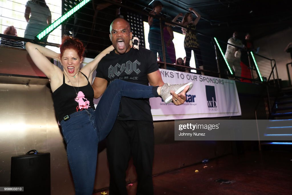 Darryl 'D.M.C.' McDaniels (r) poses with a guest at The Felix Organization's 2018 Dance This Way Benefit at Arena on May 14, 2018 in New York City.