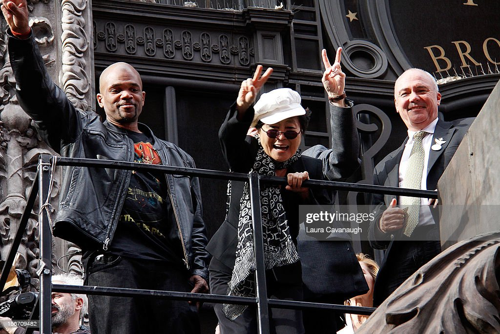 Darryl 'DMC' McDaniels, Yoko Ono and Hard Rock CEO Hamish Dodds attend the 5th annual Imagine There's No Hunger Campaign launch at the Hard Rock Cafe, Times Square on November 19, 2012 in New York City.