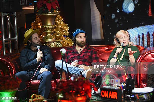 Darryl James and Simon Ward of the Strumbellas speak with radio personality Kat Corbett at the 106.7 KROQ Almost Acoustic Christmas 2016 - Night 1 at...