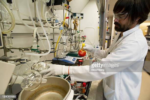Darryl Kato research scientist for Gilead Sciences Inc works on the synthesis of a potential hepatitis C virus drug candidate at the company's lab in...