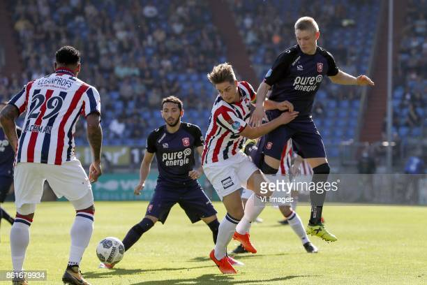 Darryl Lachman of Willem II Christian Cuevas of FC Twente Jordens Peters of Willem II Marko Kvasina of FC Twente during the Dutch Eredivisie match...