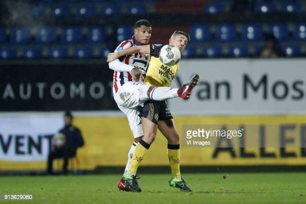 Darryl Lachman of Willem II Donis Avdijaj of Roda JC during the Dutch KNVB quarter final match between Willem II Tilburg and Roda JC Kerkrade at...