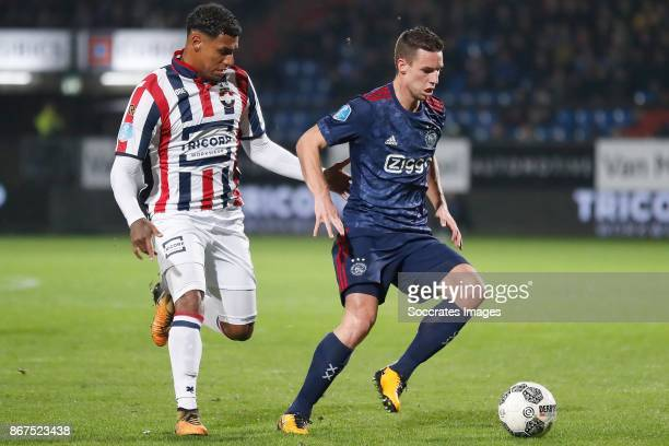 Darryl Lachman of Willem II Nick Viergever of Ajax during the Dutch Eredivisie match between Willem II v Ajax at the Koning Willem II Stadium on...