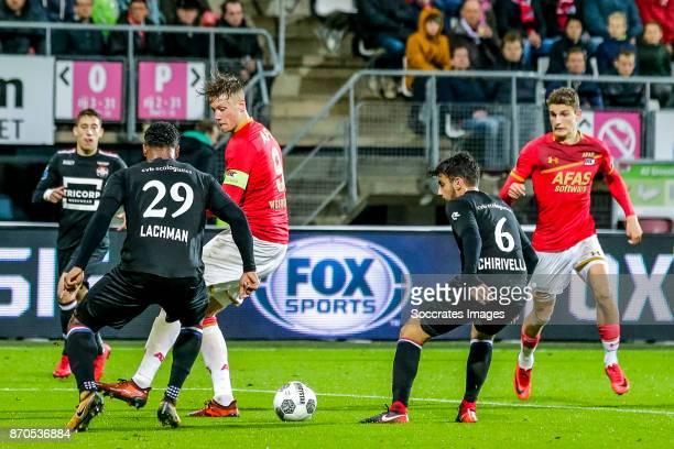 Darryl Lachman of Willem II Wout Weghorst of AZ Alkmaar Pedro Chirivella of Willem II Guus Til of AZ Alkmaar during the Dutch Eredivisie match...