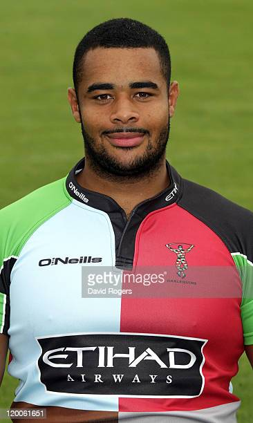Darryl Marfo of Harlequins poses for a portrait at the photocall held at Surrey University on July 29 2011 in Guildford England