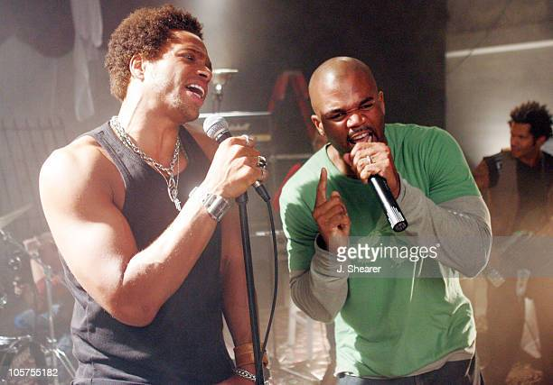 Darryl McDaniels aka DMC and Gary Dourdan during DMC on Location for Machine Gun Music Video June 13 2005 in Hollywood California United States