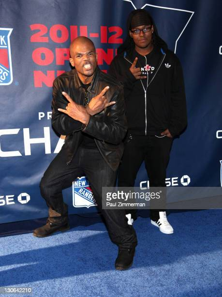 Darryl McDaniels and Darryl M McDaniels Jr attend the New York Rangers home opener at Madison Square Garden on October 27 2011 in New York City