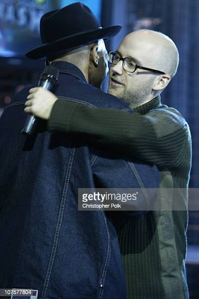 Darryl McDaniels and Moby during 2002 Fox Billboard Bash Show and Party at Studio 54 inside MGM Grand Casino in Las Vegas NV