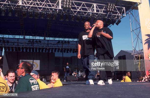Darryl McDaniels left and Joseph Simmons of Run DMC perform on stage at the Tweeter Center in Tinley Park Illinois May 19 2001