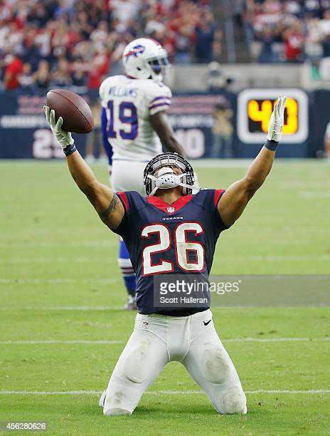 Darryl Morris of the Houston Texans celebrates after his fourth quarter interception during their game against the Buffalo Bills at NRG Stadium on...