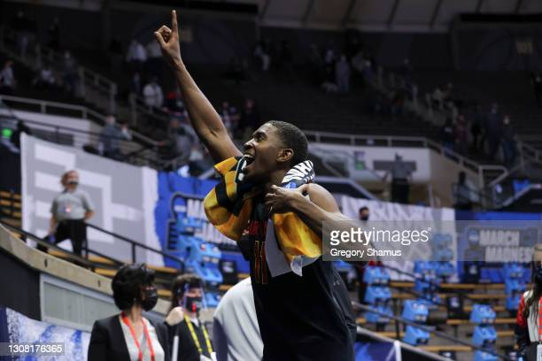 Darryl Morsell of the Maryland Terrapins celebrates as he leaves the court following his team's victory against the Connecticut Huskies in the first...