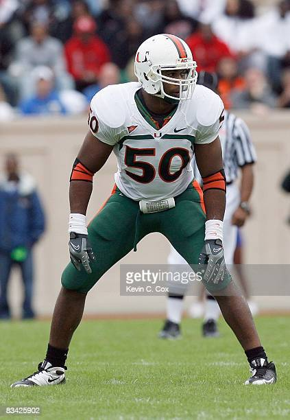 Darryl Sharpton of the Miami Hurricanes stands on the field during the game against the Duke Blue Devils at Wallace Wade Stadium on October 18 2008...