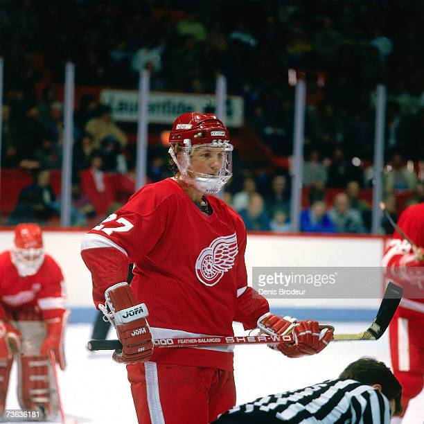 Darryl Sittler of the Detroit Red Wings looks on before a faceoff against the Montreal Canadiens