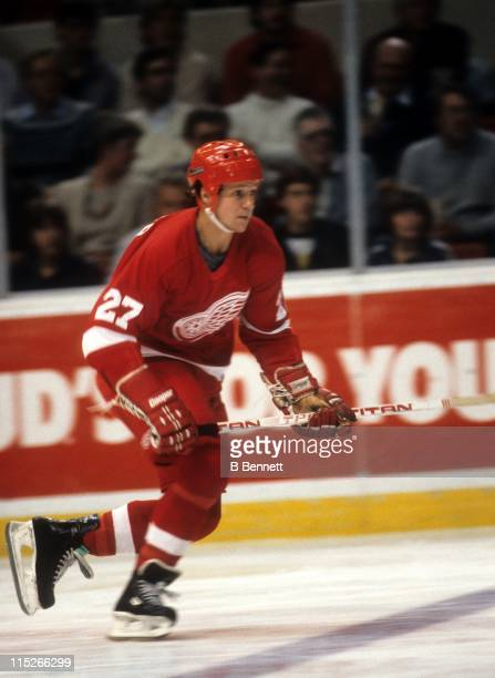 Darryl Sittler of the Detroit Red Wings skates on the ice during an NHL game circa 1985