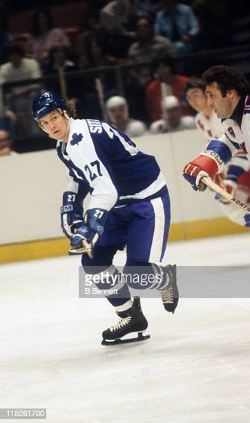 Darryl Sittler of the Toronto Maple Leafs skates on the ice during an NHL game against the New York Rangers circa 1980 at the Madison Square Garden...